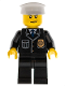 Minifig No: cty0008  Name: Police - City Suit with Blue Tie and Badge, Black Legs, Scowl, White Hat