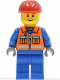 Minifig No: cty0009  Name: Construction Worker - Orange Zipper, Safety Stripes, Blue Arms, Blue Legs, Red Construction Helmet