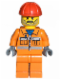 Minifig No: cty0010  Name: Construction Worker - Orange Zipper, Safety Stripes, Orange Arms, Orange Legs, Red Construction Helmet, Moustache and Stubble