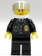 Minifig No: cty0013  Name: Police - City Suit with Blue Tie and Badge, Black Legs, White Helmet, Trans-Black Visor, Scowl