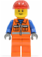 Minifig No: cty0014  Name: Construction Worker - Orange Zipper, Safety Stripes, Blue Arms, Orange Legs, Red Construction Helmet