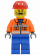 Minifig No: cty0016  Name: Construction Worker - Orange Zipper, Safety Stripes, Orange Arms, Blue Legs, Red Construction Helmet, Stubble
