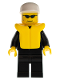 Minifig No: cty0019  Name: Police - City Suit with Blue Tie and Badge, Black Legs, Sunglasses, White Cap, Life Jacket