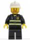 Minifig No: cty0022  Name: Fire - Reflective Stripes, Black Legs, White Fire Helmet, Brown Beard Angular