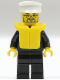 Minifig No: cty0025  Name: Police - City Suit with Blue Tie and Badge, Black Legs, White Hat, Life Jacket