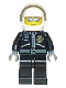 Minifig No: cty0027a  Name: Police - City Leather Jacket with Gold Badge and 'POLICE' on Back, White Helmet, Trans-Black Visor, Silver Sunglasses