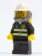 Minifig No: cty0030  Name: Fire - Reflective Stripes, Black Legs, White Fire Helmet, Breathing Neck Gear with Airtanks, Yellow Hands