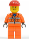 Minifig No: cty0031  Name: Construction Worker - Orange Zipper, Safety Stripes, Orange Arms, Orange Legs, Red Construction Helmet, Brown Eyebrows, Thin Grin