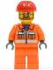 Minifig No: cty0032  Name: Construction Worker - Orange Zipper, Safety Stripes, Orange Arms, Orange Legs, Red Construction Helmet, Beard and Glasses