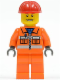 Minifig No: cty0034  Name: Construction Worker - Orange Zipper, Safety Stripes, Orange Arms, Orange Legs, Red Construction Helmet, Eyebrows, Thin Grin with Teeth