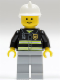 Minifig No: cty0035  Name: Fire - Reflective Stripes, Light Bluish Gray Legs, White Fire Helmet, Standard Grin