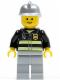Minifig No: cty0036  Name: Fire - Reflective Stripes, Light Bluish Gray Legs, Silver Fire Helmet, Standard Grin