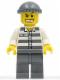 Minifig No: cty0040  Name: Police - Jail Prisoner 50380 Prison Stripes, Dark Bluish Gray Legs, Dark Bluish Gray Knit Cap, Gold Tooth