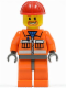 Minifig No: cty0041  Name: Construction Worker - Orange Zipper, Safety Stripes, Orange Arms, Orange Legs, Dark Bluish Gray Hips, Red Construction Helmet