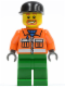 Minifig No: cty0046  Name: Sanitary Engineer 1 - Green Legs, Beard around Mouth