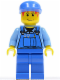 Minifig No: cty0050  Name: Overalls with Tools in Pocket Blue, Blue Cap, Messy Red Hair