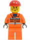 Minifig No: cty0052  Name: Construction Worker - Orange Zipper, Safety Stripes, Orange Arms, Orange Legs, Red Construction Helmet