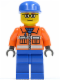 Minifig No: cty0053  Name: Ground Crew - Orange Zipper, Safety Stripes, Orange Arms, Blue Legs, Blue Cap, Glasses