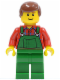 Minifig No: cty0058  Name: Overalls Farmer Green, Reddish Brown Male Hair