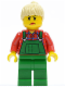 Minifig No: cty0059  Name: Overalls Farmer Green, Tan Ponytail Hair