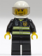 Minifig No: cty0062  Name: Fire - Reflective Stripes, Black Legs, White Standard Helmet, Cheek Lines