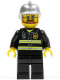 Minifig No: cty0087  Name: Fire - Reflective Stripes, Black Legs, Silver Fire Helmet, Beard and Glasses (Hovercraft Pilot)