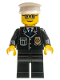 Minifig No: cty0091  Name: Police - City Suit with Blue Tie and Badge, Black Legs, Glasses, White Hat