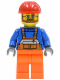 Minifig No: cty0096  Name: Overalls with Safety Stripe Orange, Orange Legs, Red Construction Helmet, Beard and Glasses