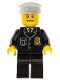 Minifig No: cty0098  Name: Police - City Suit with Blue Tie and Badge, Black Legs, Thin Grin with Teeth, White Hat