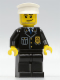 Minifig No: cty0099  Name: Police - City Suit with Blue Tie and Badge, Black Legs, White Hat, Smirk and Stubble Beard
