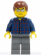 Minifig No: cty0103  Name: Plaid Button Shirt, Dark Bluish Gray Legs, Reddish Brown Male Hair, Silver Sunglasses