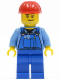 Minifig No: cty0104  Name: Overalls with Tools in Pocket Blue, Red Construction Helmet, Smirk and Stubble Beard