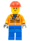 Minifig No: cty0105  Name: Construction Worker - Orange Zipper, Safety Stripes, Orange Arms, Blue Legs, Red Construction Helmet