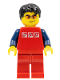 Minifig No: cty0108  Name: Red Shirt with 3 Silver Logos, Dark Blue Arms, Red Legs