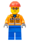Minifig No: cty0110a  Name: Construction Worker - Orange Zipper, Safety Stripes, Orange Arms, Blue Legs, Red Construction Helmet, Red Eyebrows, Glasses
