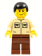 Minifig No: cty0112  Name: Shirt with 2 Pockets No Collar, Reddish Brown Legs, Black Male Hair
