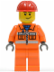 Minifig No: cty0113  Name: Construction Worker - Orange Zipper, Safety Stripes, Orange Arms, Orange Legs, Red Construction Helmet, Smirk and Stubble Beard