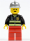 Minifig No: cty0115  Name: Fire - Reflective Stripes, Red Legs, Silver Fire Helmet, Brown Eyebrows, Thin Grin
