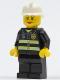 Minifig No: cty0120  Name: Fire - Reflective Stripes, Black Legs, White Fire Helmet, Female
