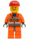 Minifig No: cty0124  Name: Construction Worker - Orange Zipper, Safety Stripes, Orange Arms, Orange Legs, Dark Bluish Gray Hips, Red Construction Helmet, Brown Moustache