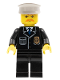 Minifig No: cty0128  Name: Police - City Suit with Blue Tie and Badge, Black Legs, Brown Moustache, White Hat