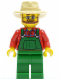 Minifig No: cty0133  Name: Overalls Farmer Green, Tan Fedora, Beard and Glasses