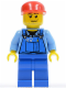 Minifig No: cty0134  Name: Farm Hand, Blue Overalls, Long Bill Cap
