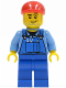 Minifig No: cty0134a  Name: Farm Hand, Blue Overalls, Short Bill Cap