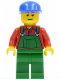 Minifig No: cty0136  Name: Overalls Farmer Green, Blue Cap