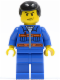 Minifig No: cty0139  Name: Blue Jacket with Pockets and Orange Stripes, Blue Legs, Black Male Hair
