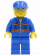 Minifig No: cty0148  Name: Blue Jacket with Pockets and Orange Stripes, Blue Legs, Blue Cap, Silver Sunglasses, Eyebrows and Thin Grin