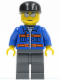 Minifig No: cty0150  Name: Blue Jacket with Pockets and Orange Stripes, Dark Bluish Gray Legs, Black Cap, Silver Sunglasses