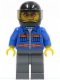 Minifig No: cty0151  Name: Blue Jacket with Pockets and Orange Stripes, Dark Bluish Gray Legs, Black Helmet, Orange Sunglasses