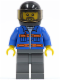 Minifig No: cty0152  Name: Blue Jacket with Pockets and Orange Stripes, Dark Bluish Gray Legs, Black Helmet, Gray Beard